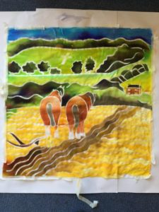 Horses and landscape drawn painted on silk