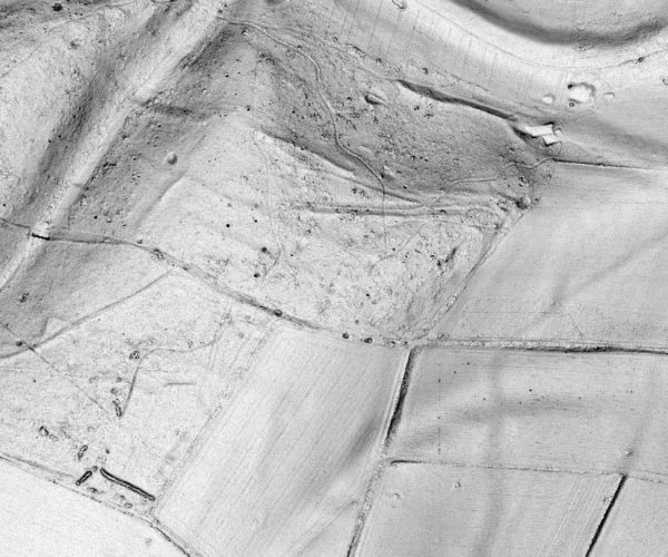 Black and white aerial photo of landscape