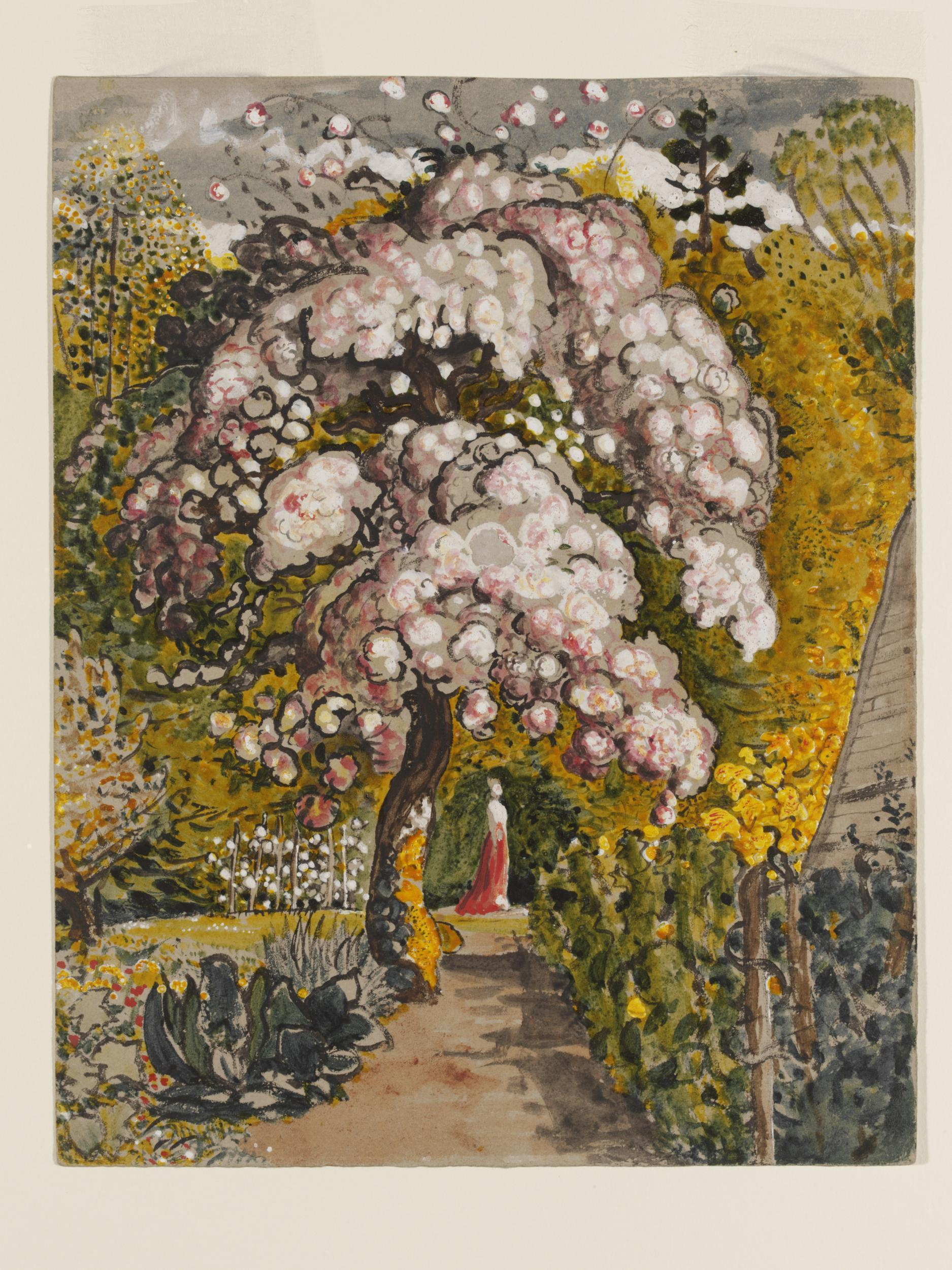 Painting of blossom on tree in garden with lady underneath