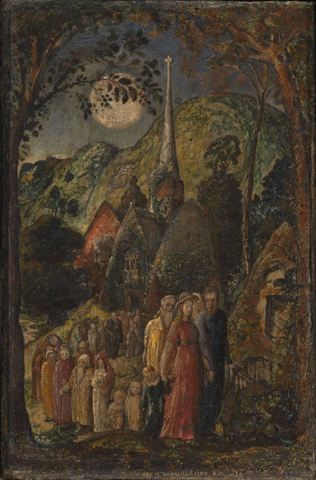Painting of people walking from a church under a full moon