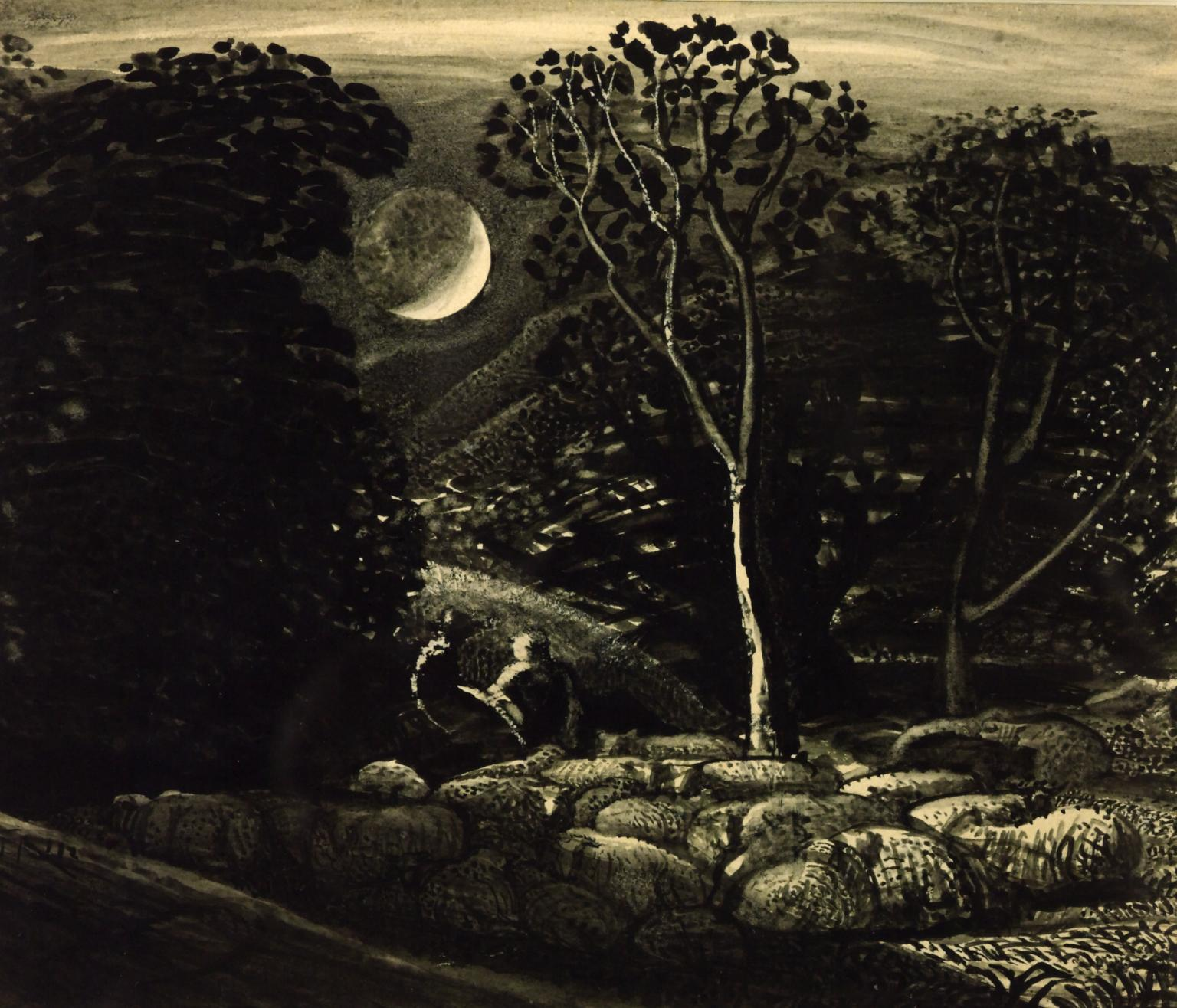 Black and white old painting at night with sheep under a crescent moon