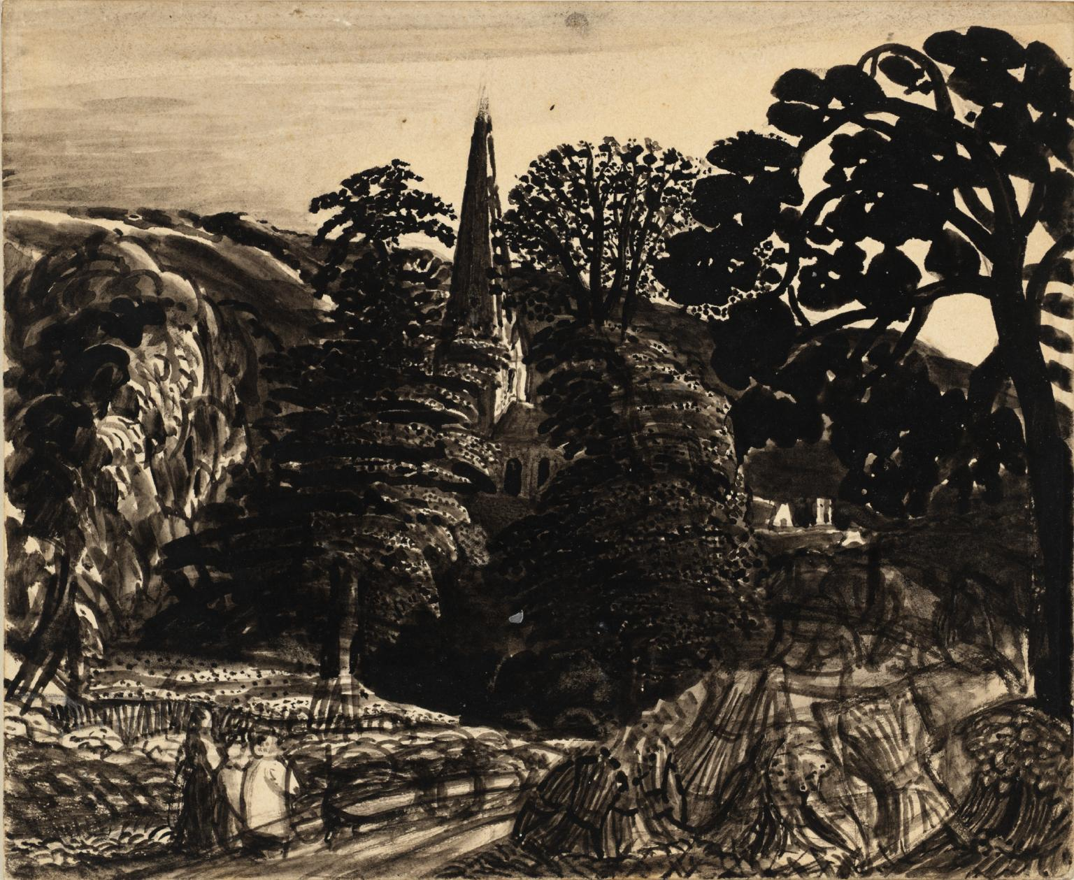 Black and white old painting with church spire in centre and trees surrounding it