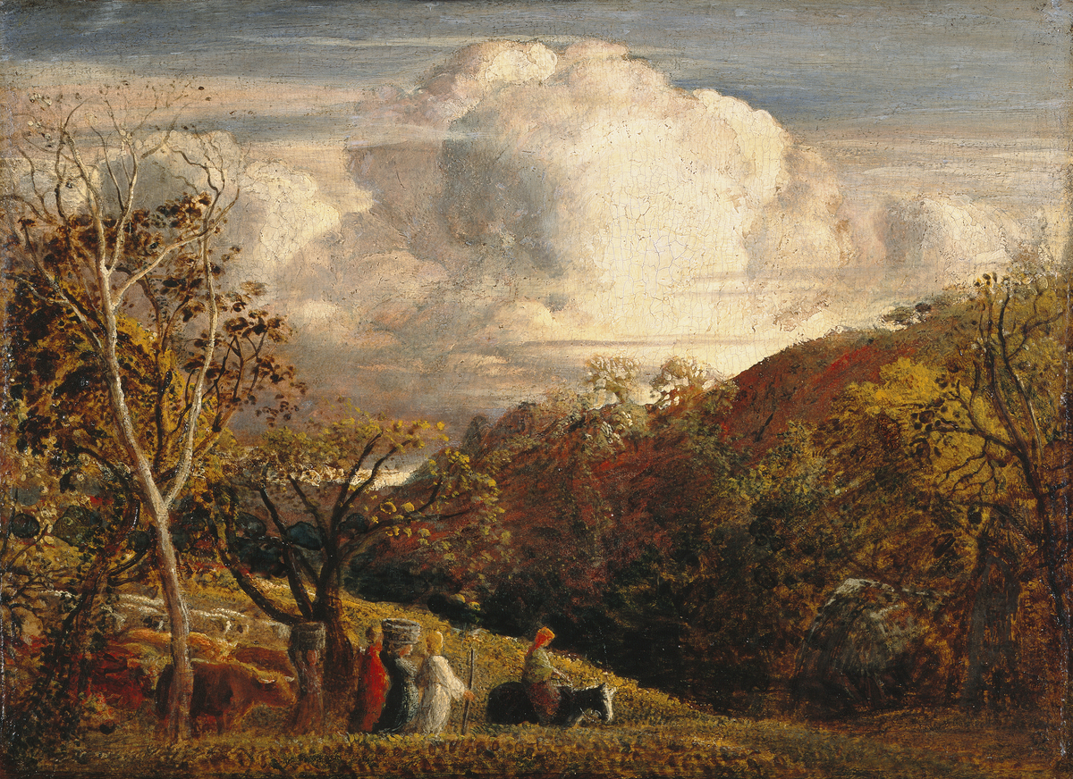 Old coloured painting with large cloud and farmers and farm animals below