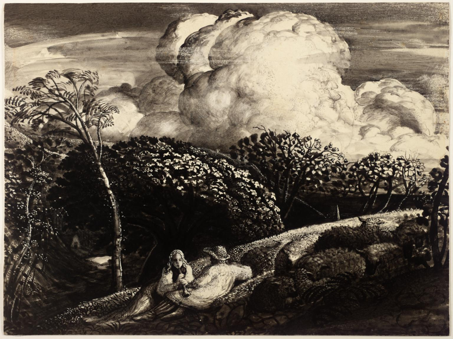 Old black and white sketch with two people lying on hill with large white cloud above