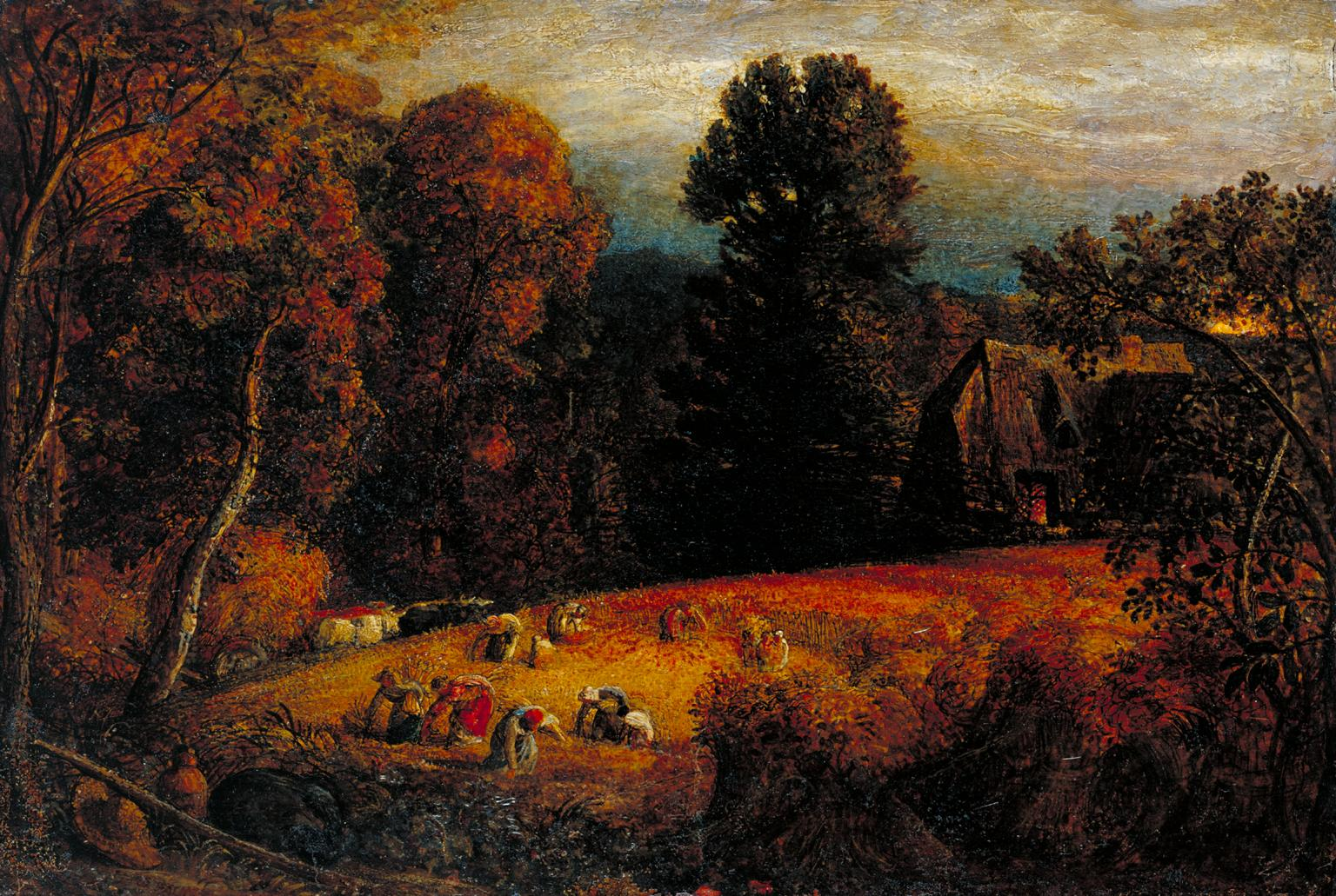 Old colourful painting with people picking crops in a field under trees