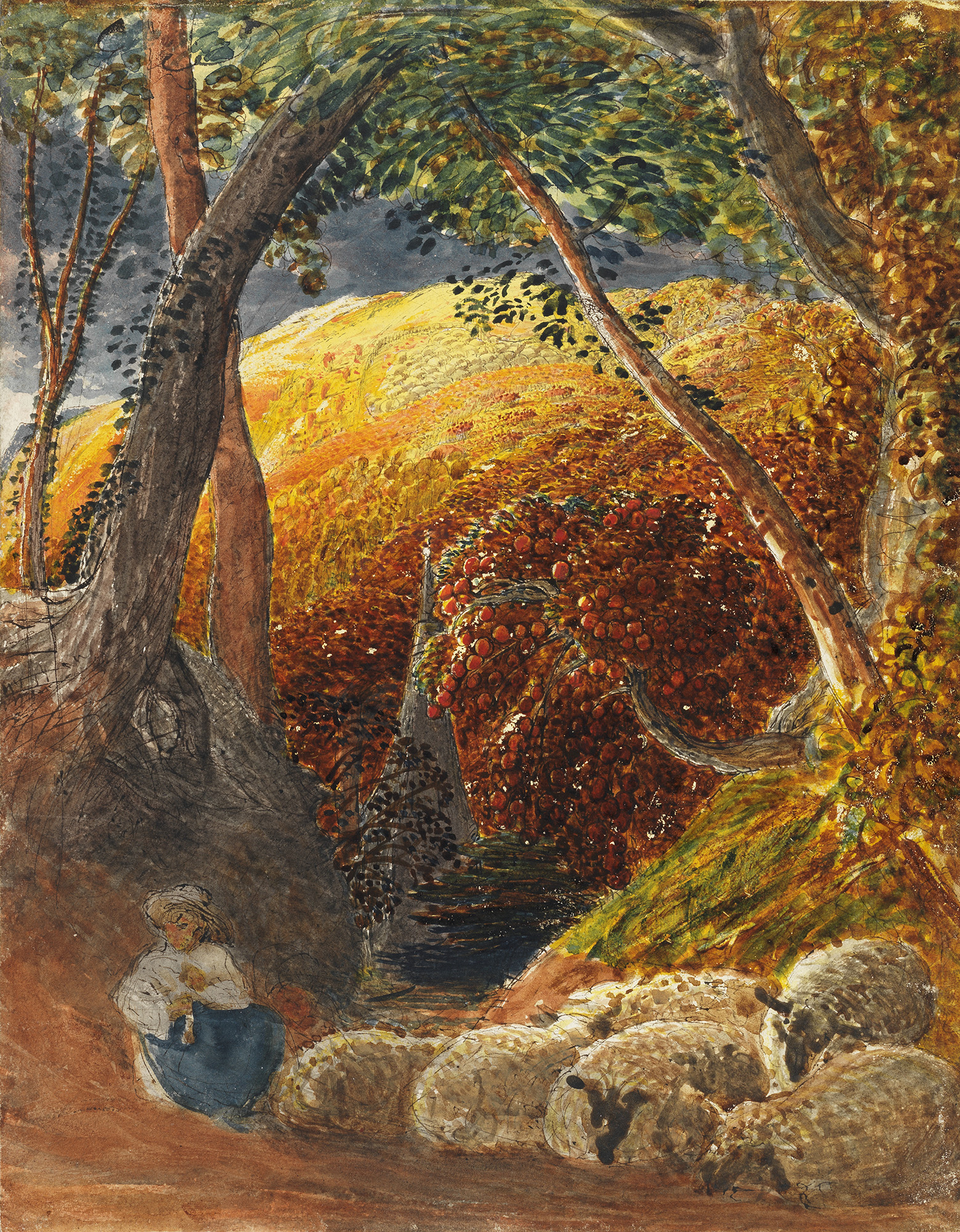 Colourful painting of abstract apple tree with person and sheep underneath