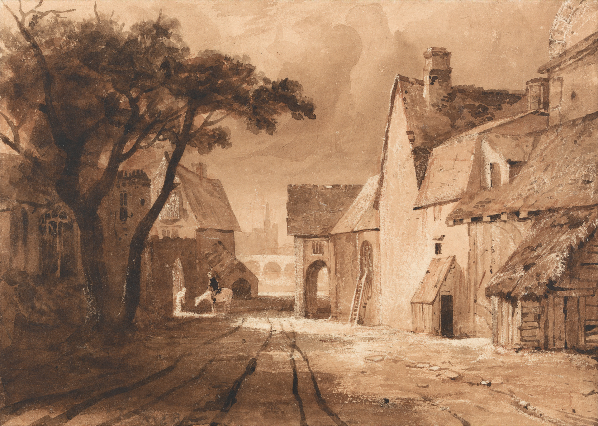 Sketch of old buildings with tree on left