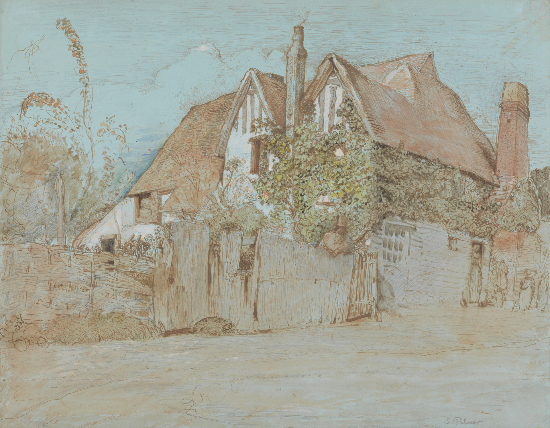 Coloured sketch of old house, Ivy Cottage
